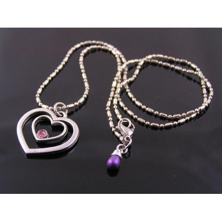 Heart Necklace, Pink Crystal Heart Pendant Necklace, Pink and Purple Necklace
