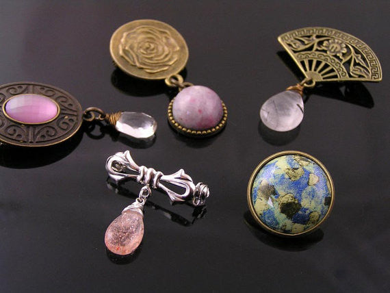 Silver Brooch with Iolite