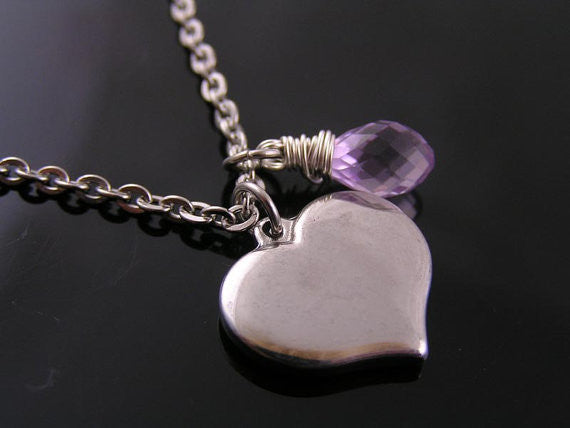 Initial Necklace with Heart Pendant and Pink Amethyst, Dragonfly Dangle