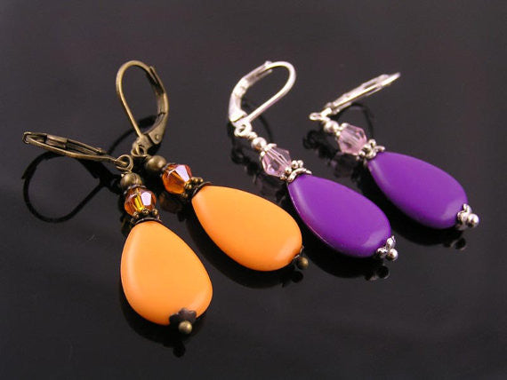 Light Weight Orange Drop Earrings
