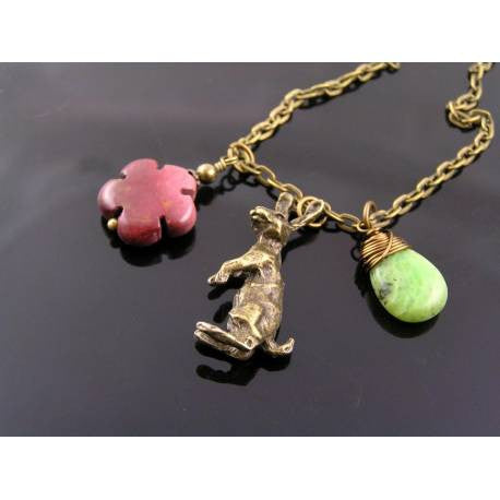 Australia Necklace with Kangaroo Charm, Chrysoprase and Mookaite Flower