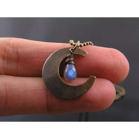 Crescent Moon Necklace with Labradorite, Dark Side of the Moon