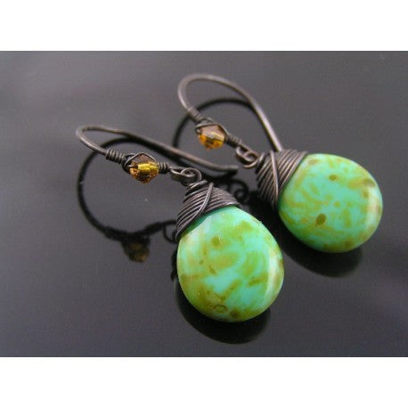 Large Mottled Green Czech Glass Drop Earrings