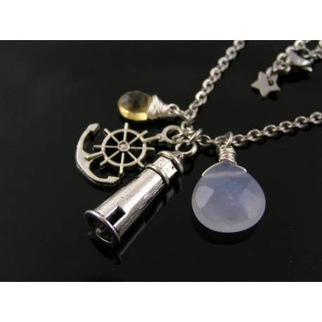 Lighthouse, Blue Chalcedony, Citrine and Anchor Necklace