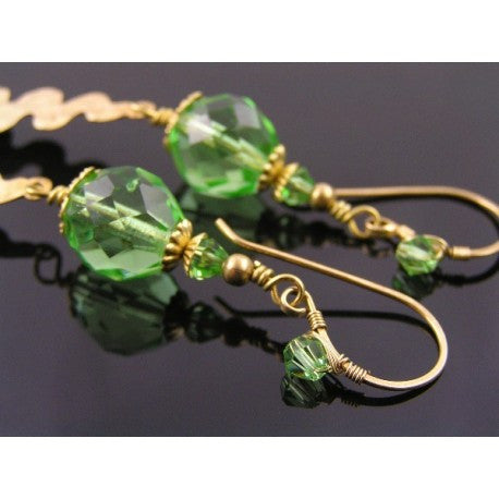 Long Spring Green and Gold Wire Wrapped Earrings