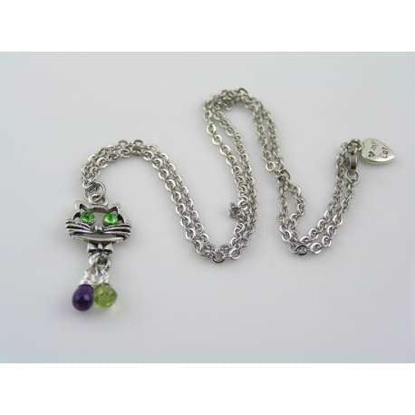 Love my Cat Necklace with Amethyst, Peridot and Crystals