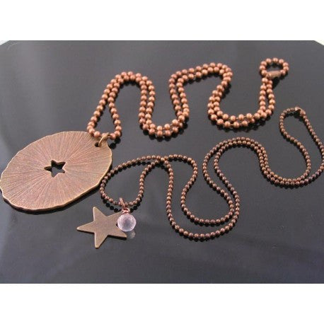 Matching Couple Necklaces, Oval Tag and Little Star with Rose Quartz, Custom