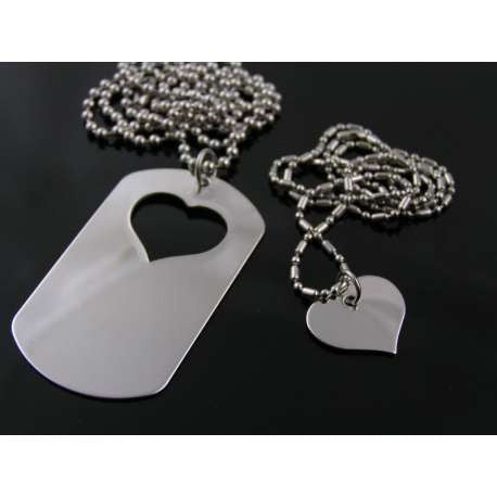 Matching Couple Necklaces, Dog Tag and Heart, Two Necklaces
