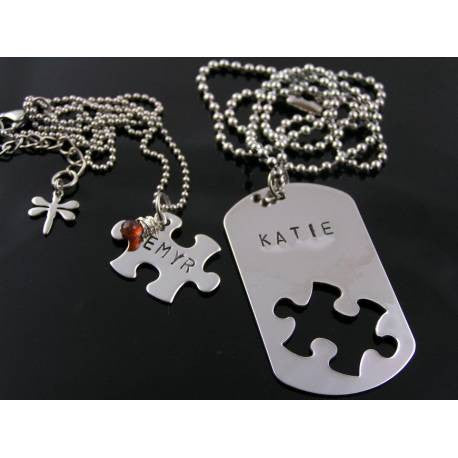 Matching Couple Necklaces, Dog Tag and Puzzle Piece