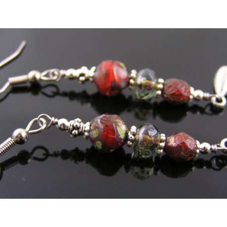 Red Czech Glass Bead and Silver Drop Earrings