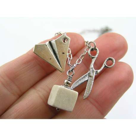 Rock, Paper, Scissors Charm Necklace