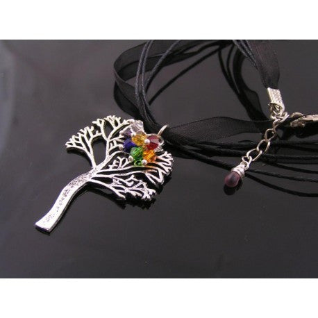Tree of Life Necklace with Crystals in Chakra Colors