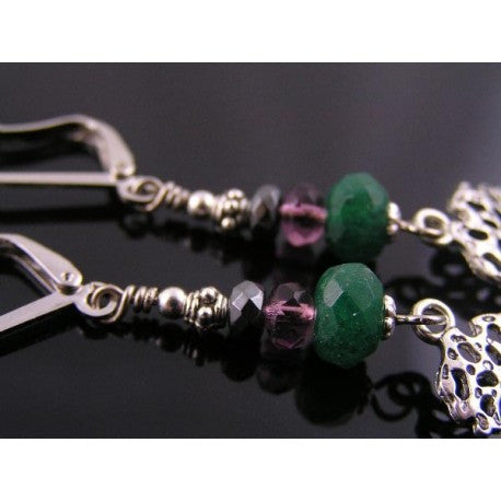 Tree of Life Earrings with Aventurine, Pyrite and Czech Glass Beads