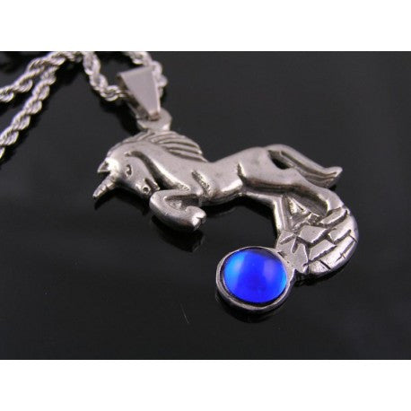 Unicorn Necklace with Blue Gem, Rope Chain, Stainless Steel