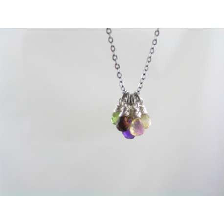 Handmade Gemstone Cluster Necklace, Amethyst, Citrine, Garnet and Peridot