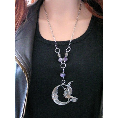 Witch and Moon Necklace with Charoite, Amethyst and Moonstone