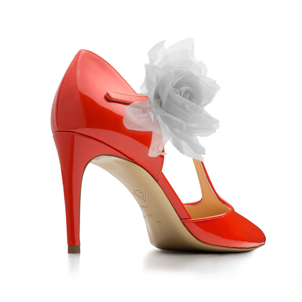 New Corallo patent leather with White Flowers