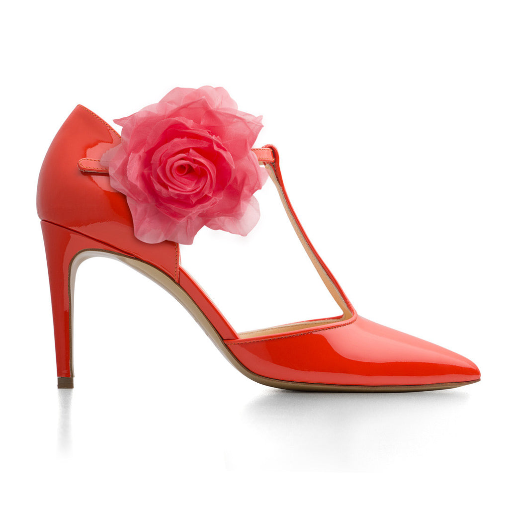 New Corallo patent leather with Red Flower