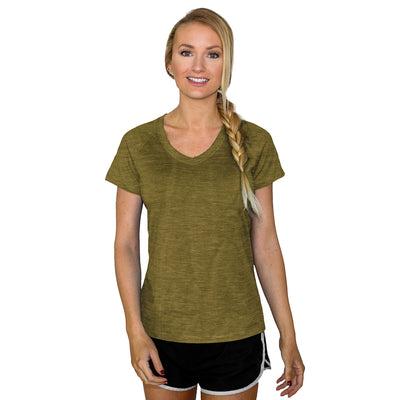 Women's Mia Short Sleeve V Neck - Moss Heather