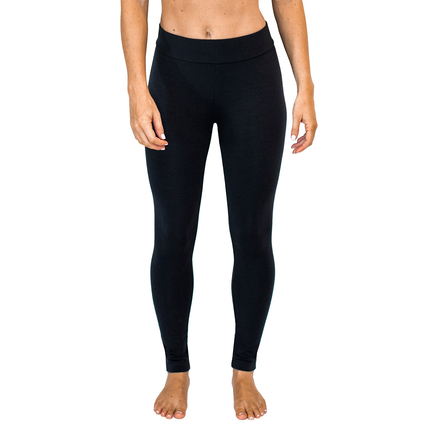 Womens Merino Wool Leggings - Black
