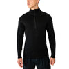 Men's Merino Wool 1/4 Zip Top-Woolx X704 - Black