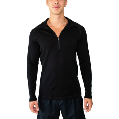 Merino Wool 1/4 Zip Top-Woolx X704 - Black