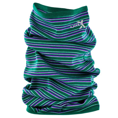 Woolx Midweight Merino Wool Long Neck Gaitor - Emerald Stripe