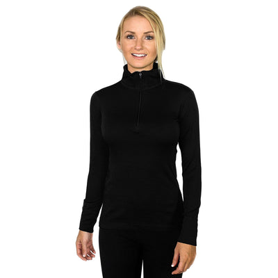 Womens 1/4 Zip Base Layer - Black