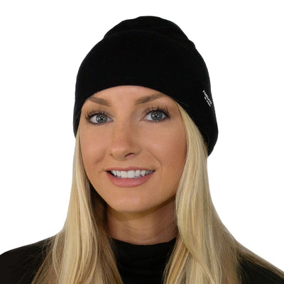 Womens Merino Wool Cap - Black Melange