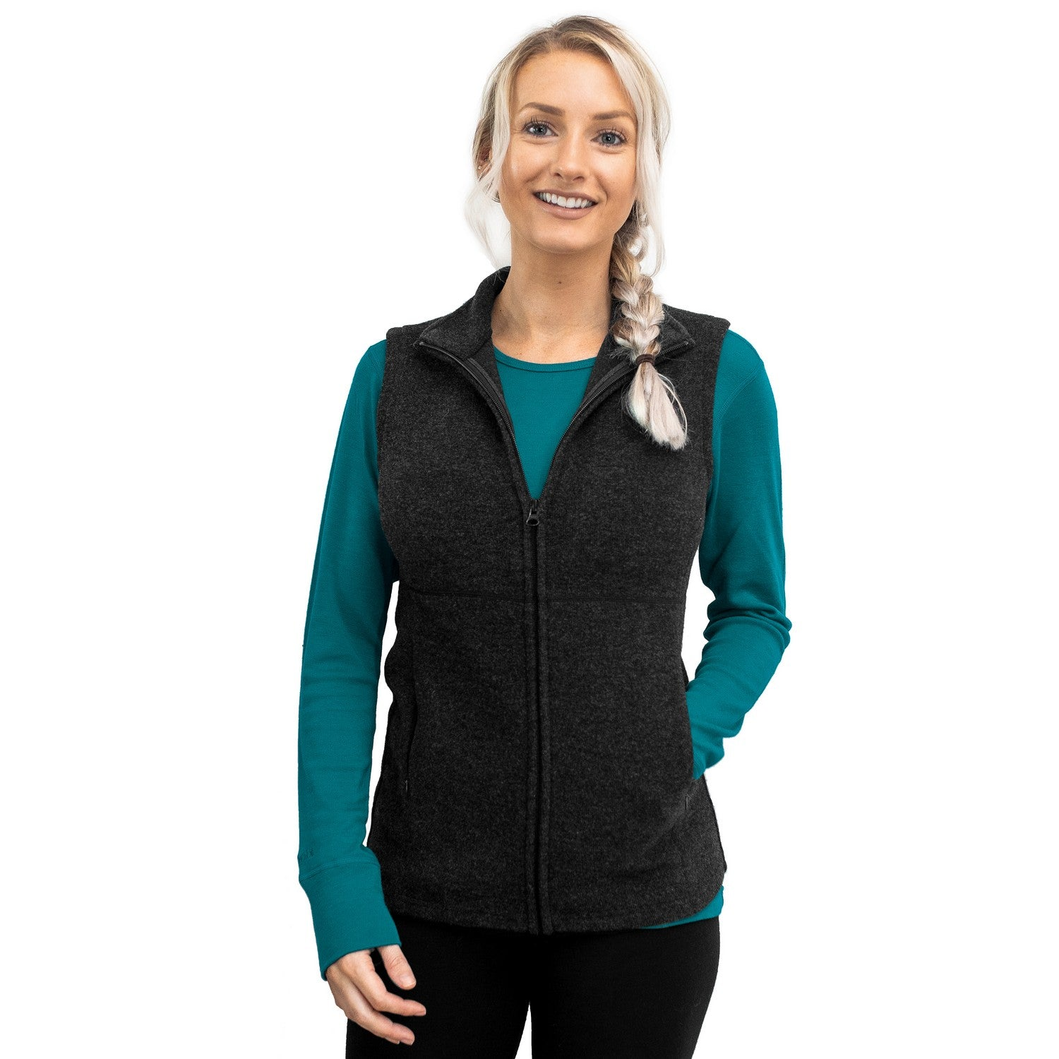 Women's Merino Wool Vest - Carbon Black