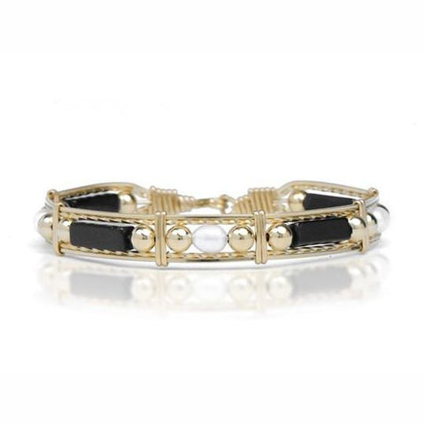 Ronaldo Designer Jewelry - Onyx, Pearl and Gold Bead Bracelet Style-152