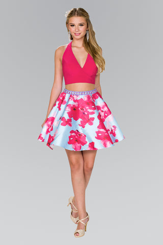 pink two piece homecoming dress