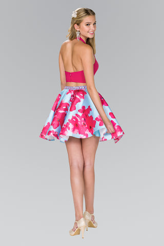 sexy pink two piece homecoming dress