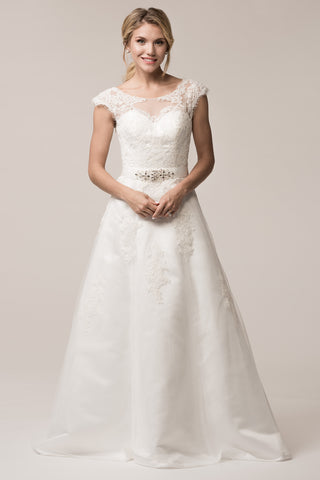 cap sleeve a-line wedding dress with belt- simply fab dress