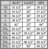 Off the shoulder evening dress, size chart