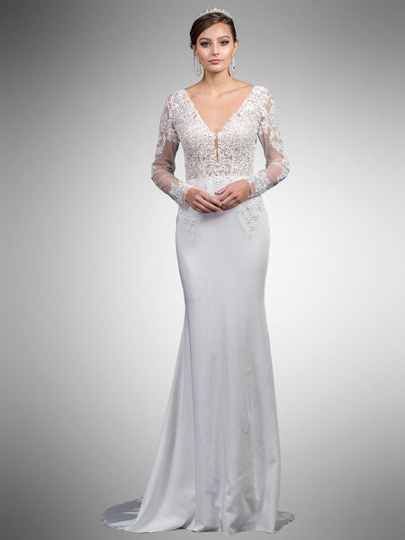 long sleeve lace wedding dress DQ0052-Simply Fab Dress
