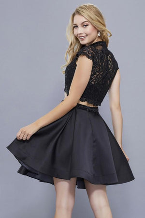 Two piece cap sleeve black homecoming dress Nox anabel # 6301 - Simply Fab Dress