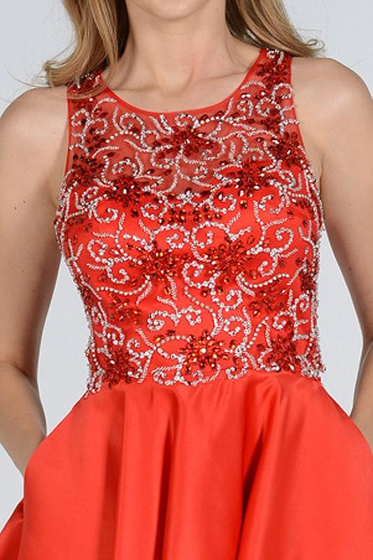60f49e7931a ... stylish rhinestone beaded top red homecoming dress with trendy side  pockets pol 8100 - Simply