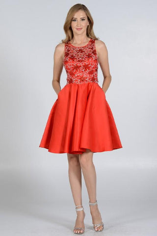 stylish rhinestone beaded top red homecoming dress with trendy side pockets pol#8100 - Simply Fab Dress