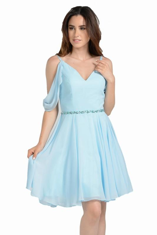 Short Homecoming Dress With Sleeves Poly 8190 Simply Fab Dress