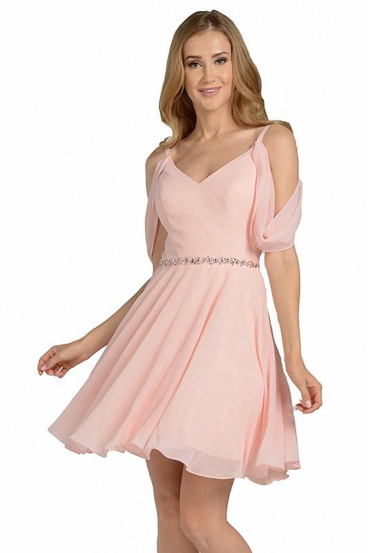 short chiffon formal homecoming dress with drop sleeve  # poly 8190 - Simply Fab Dress