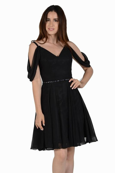 Black short chiffon homecoming dress with drop sleeve poly #8190 - Simply Fab Dress