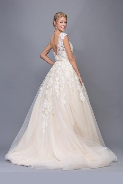 Champagne wedding dress with illusion top EA6601-Simply Fab Dress