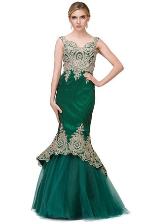 Hunter green mermaid prom dress dq2413-Simply Fab Dress