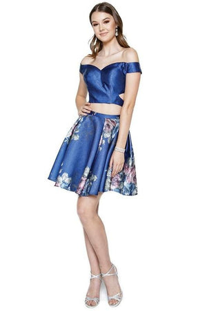 Floral 2 piece short prom dress js798-Simply Fab Dress