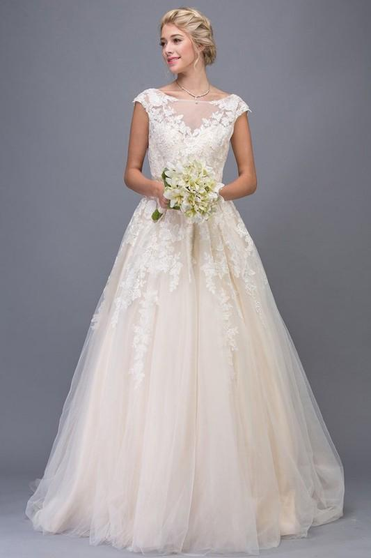 Champagne Wedding Dress With Illusion Top Ea6601 Simply Fab Dress