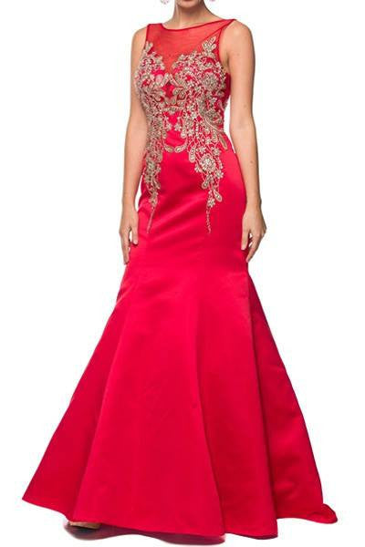 Cheap sheer illusion neckline floor length dress 105-623 Prom dress - Simply Fab Dress