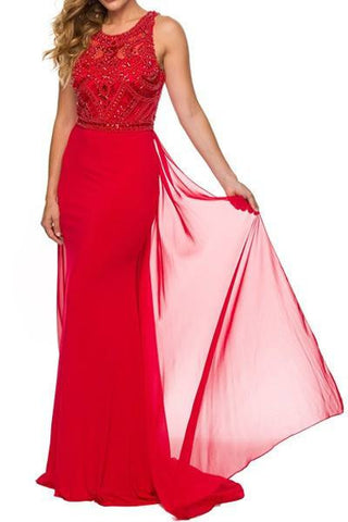 Illusion Beaded Top Floor Length Dress 105-628 Prom dress - Simply Fab Dress