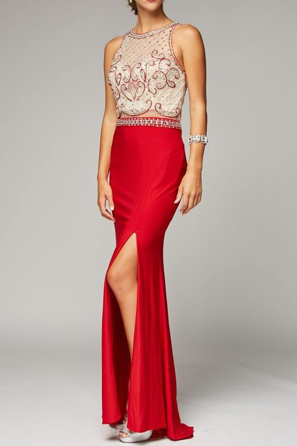 Cheap Long evening gown and prom dress with high slit 105-639 Prom dress - Simply Fab Dress