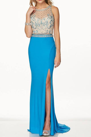 All over sequins formal dress with cut back and high slit gl2300
